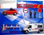 Набор машин спасательных служб +знаки +шлагбаум