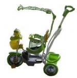 """Велосипед """"Чижик"""" 3-х колесный с ручкой и качалкой, зеленый (Лягушка)"""