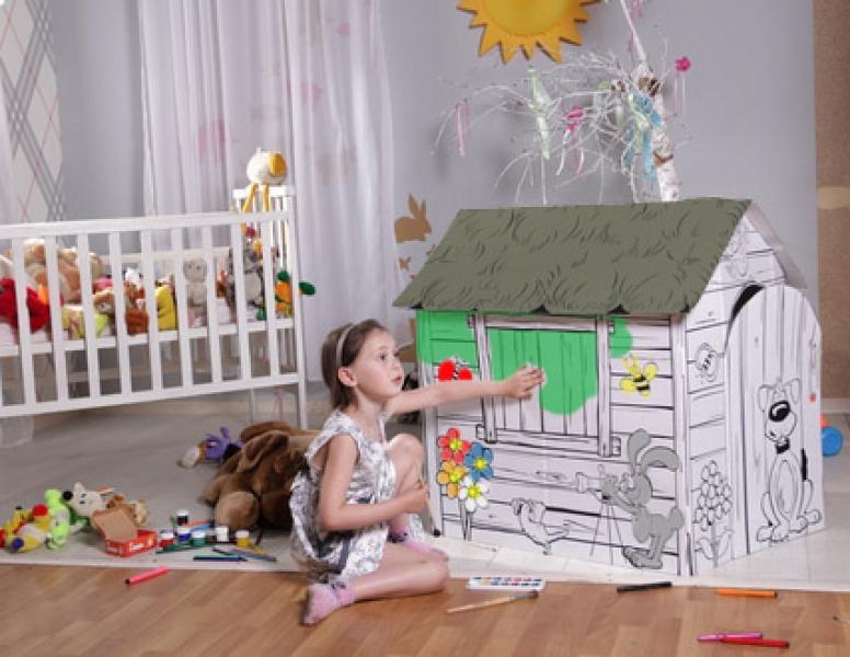 Домик из картона для ребенка в квартире